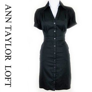 SHORT SLEEVE FITTED UTILITY SHIRT DRESS W/POCKETS